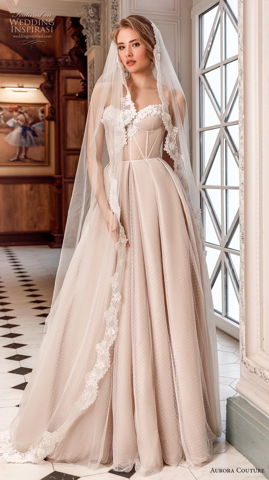 aurora couture 2019 bridal strapless sweetheart neckline lightly embellished bodice bustier simple a  line wedding dress sweep train (6) mv