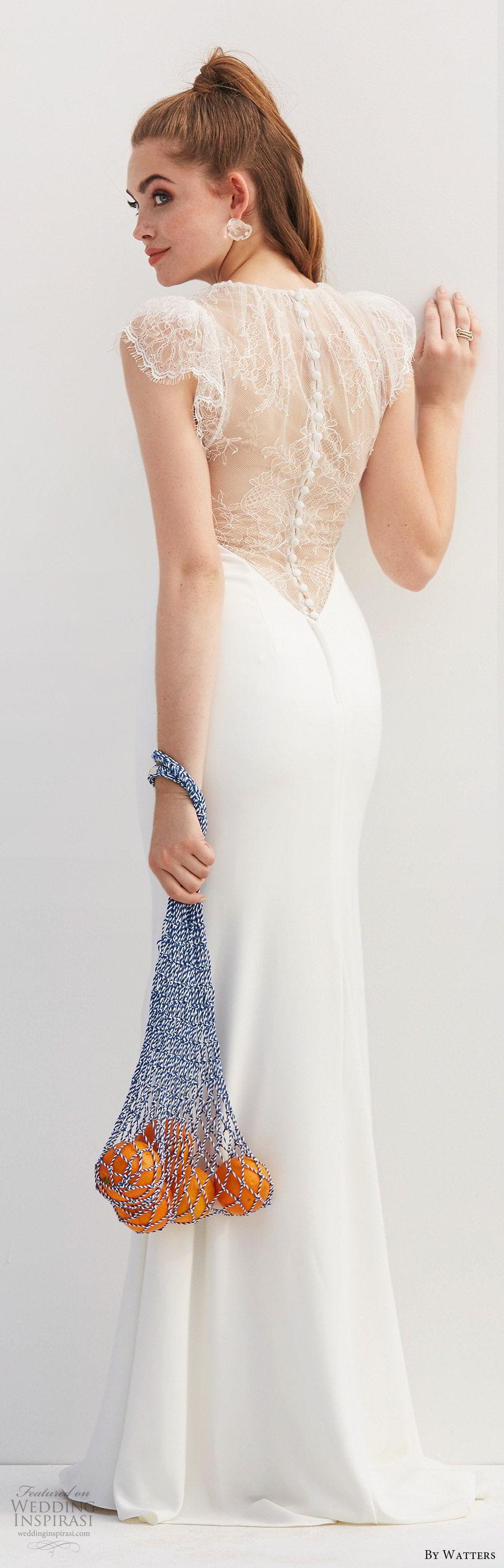 by watters 2020 bridal lace cap sleeves illusion jewel neck v neckline minimally embellished sheath wedding dress (11) illusion back elegant clean chic bv