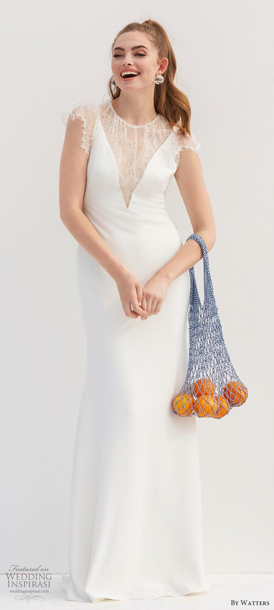 by watters 2020 bridal lace cap sleeves illusion jewel neck v neckline minimally embellished sheath wedding dress (11) illusion back elegant clean chic mv