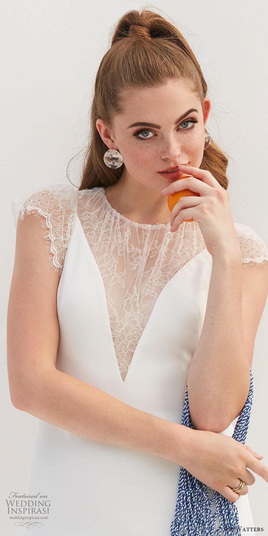 by watters 2020 bridal lace cap sleeves illusion jewel neck v neckline minimally embellished sheath wedding dress (11) illusion back elegant clean chic zv