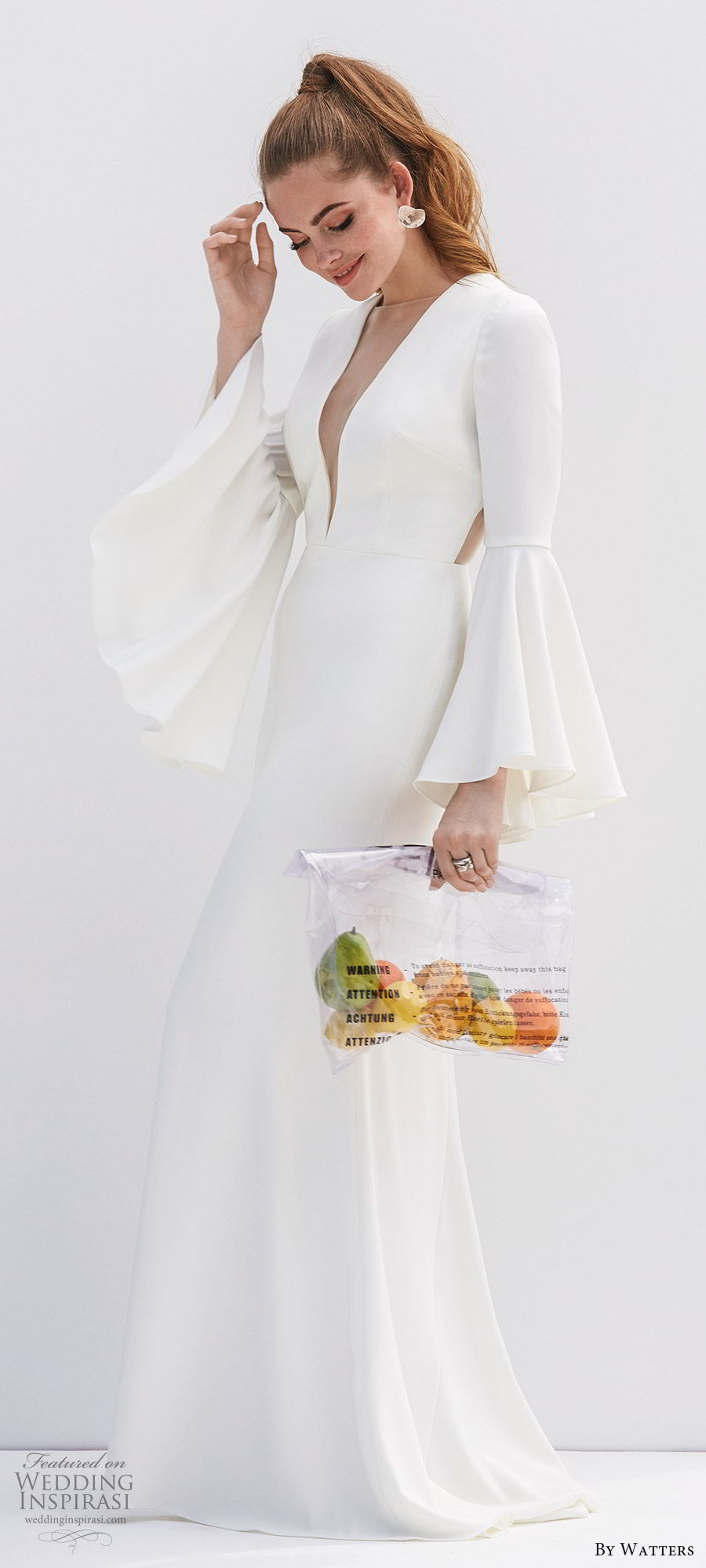 by watters 2020 bridal long bell sleeves deep v neckline sheer side open back minimally embellished sheath wedding dress (7) clean modern chic mv