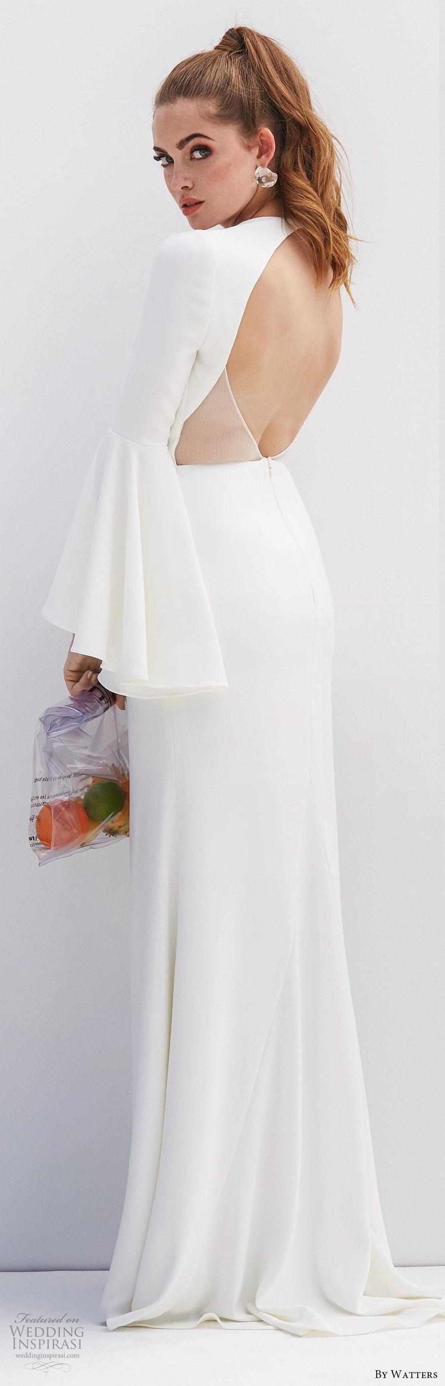 by watters 2020 bridal long bell sleeves deep v neckline sheer side open back minimally embellished sheath wedding dress (7) clean modern chic sweep train bv