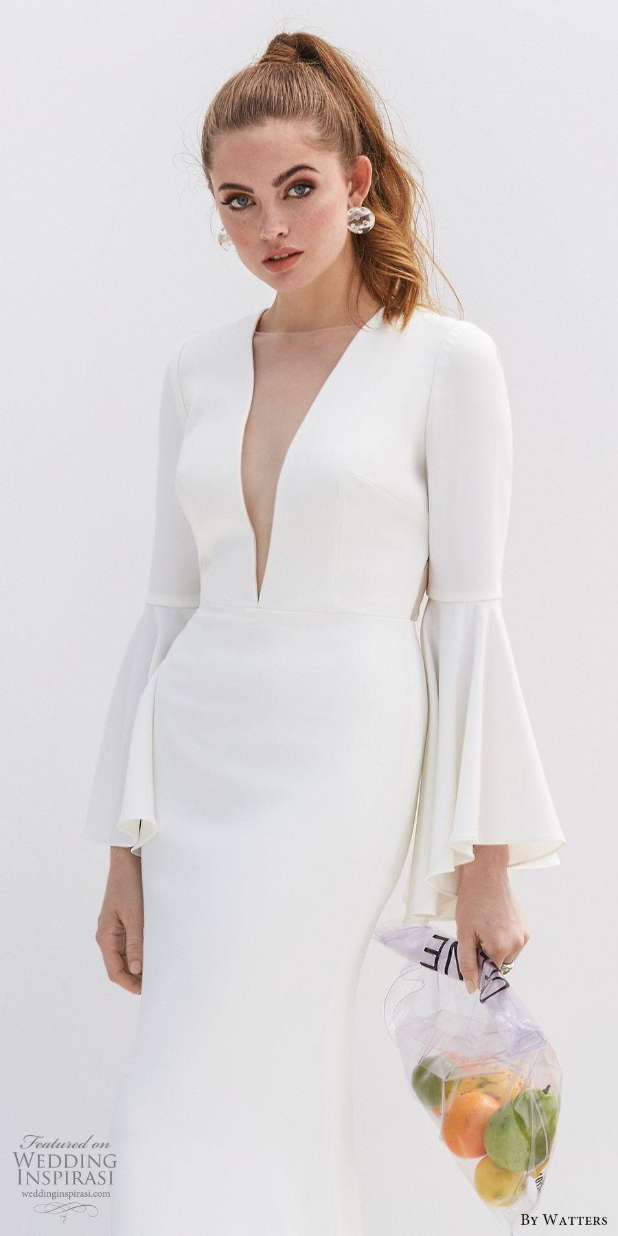 by watters 2020 bridal long bell sleeves deep v neckline sheer side open back minimally embellished sheath wedding dress (7) clean modern chic zv