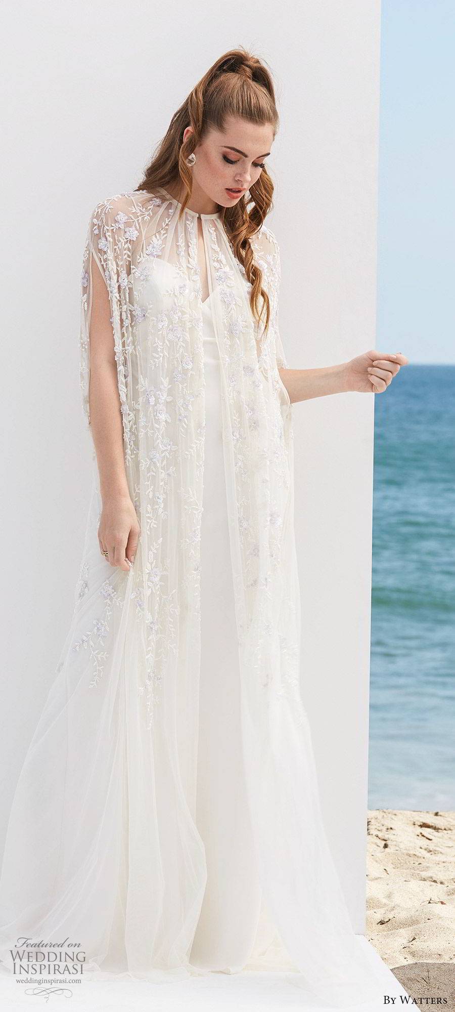 by watters 2020 bridal long hanging sleeve high neck sheer cape strapless sweetheart modified a line wedding dress (6) romantic mv