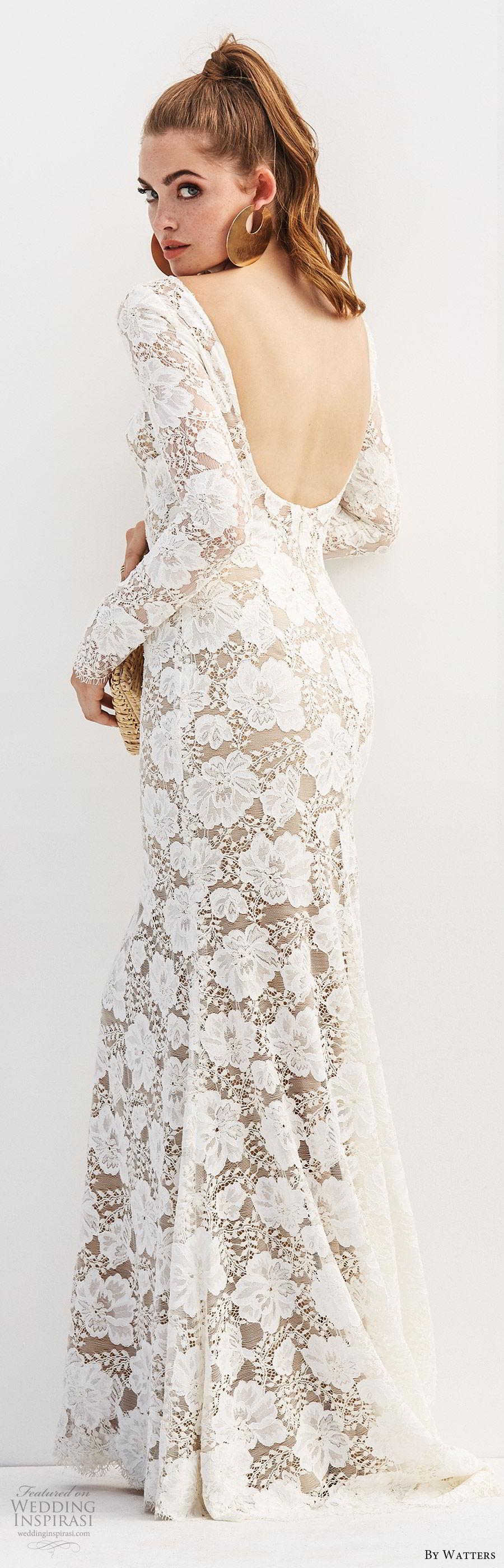 by watters 2020 bridal long sleeve bateau lace sheath wedding dress (1) open scoop back sweep train elegant chic bv