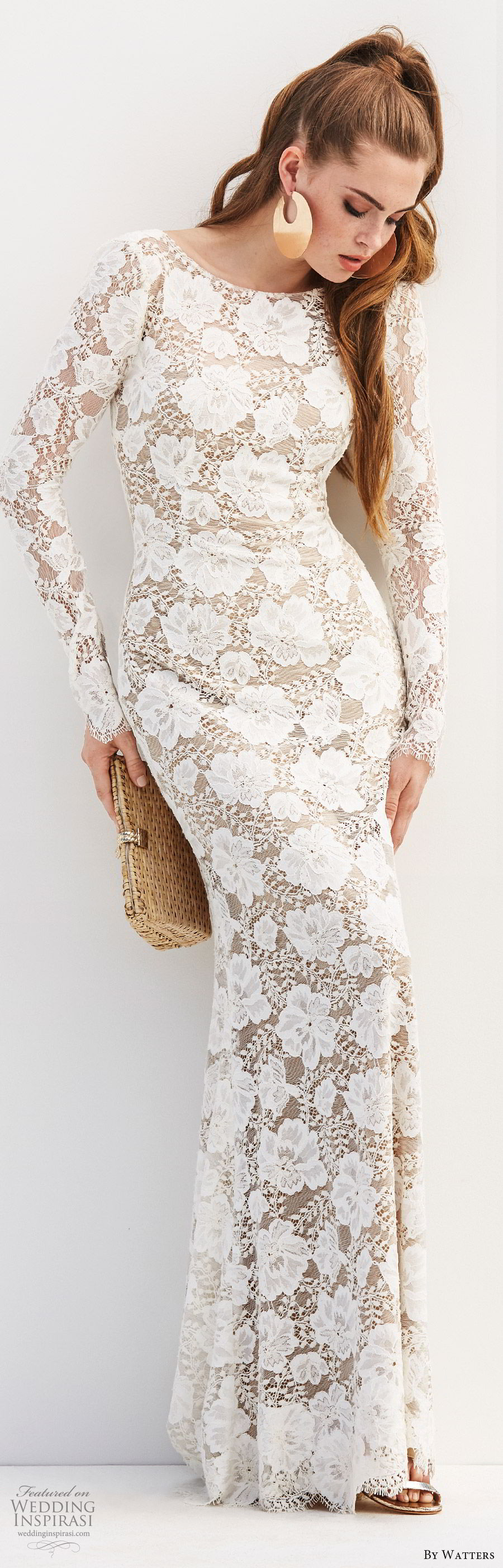 by watters 2020 bridal long sleeve bateau lace sheath wedding dress (1) open scoop back sweep train elegant chic mv