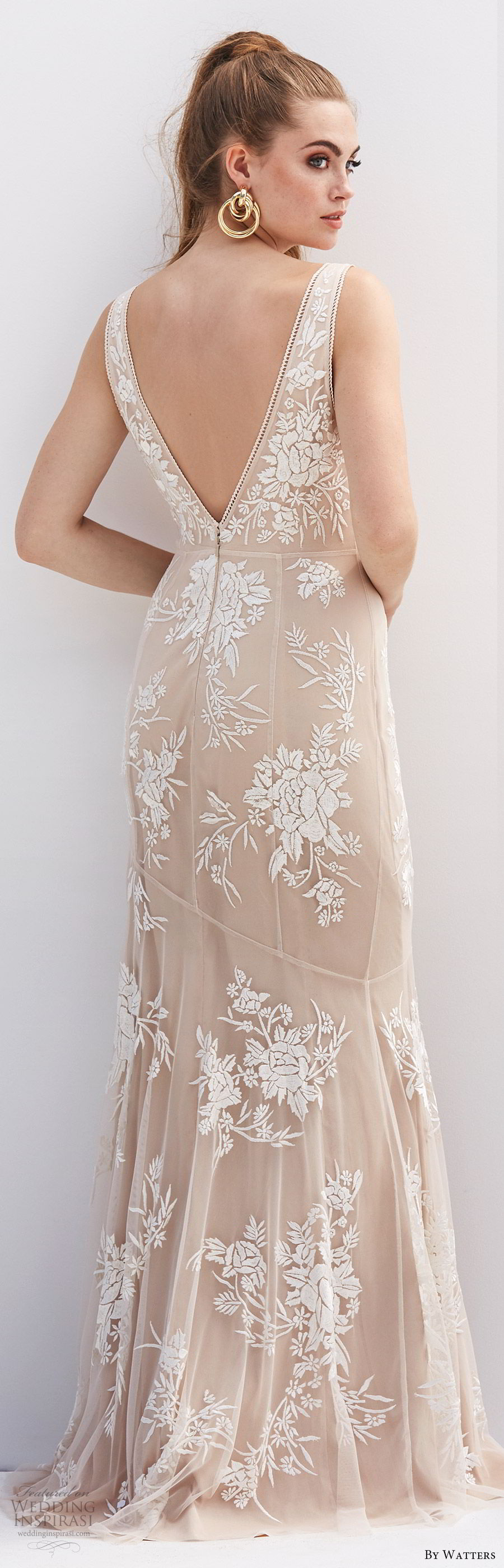 by watters 2020 bridal sleeveless deep v neck lace sheath wedding dress (5) v back sweep train champagne blush color elegant bv