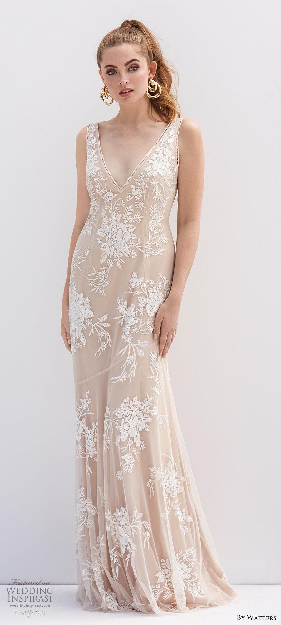 by watters 2020 bridal sleeveless deep v neck lace sheath wedding dress (5) v back sweep train champagne blush color elegant mv