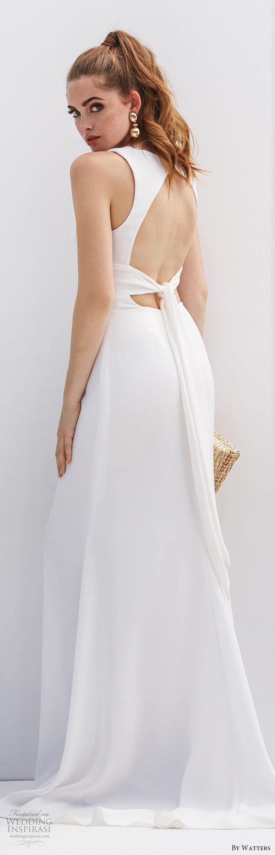 by watters 2020 bridal sleeveless deep v neckline minimally embellished sheath trumpet wedding dress (3) cutout back sweep train clean chic elegant bv