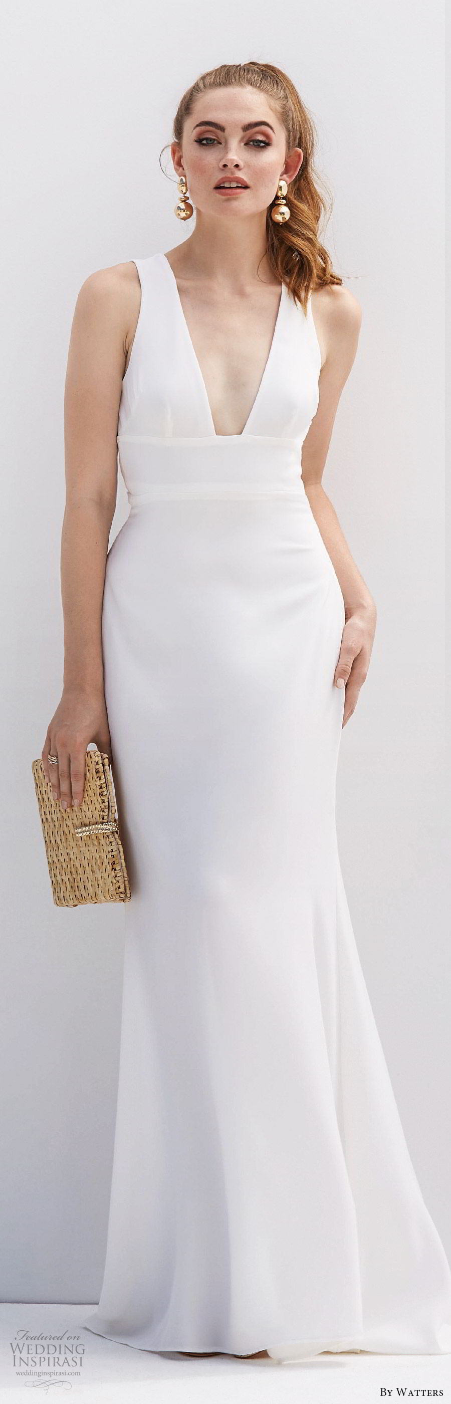 by watters 2020 bridal sleeveless deep v neckline minimally embellished sheath trumpet wedding dress (3) cutout back sweep train clean chic elegant mv