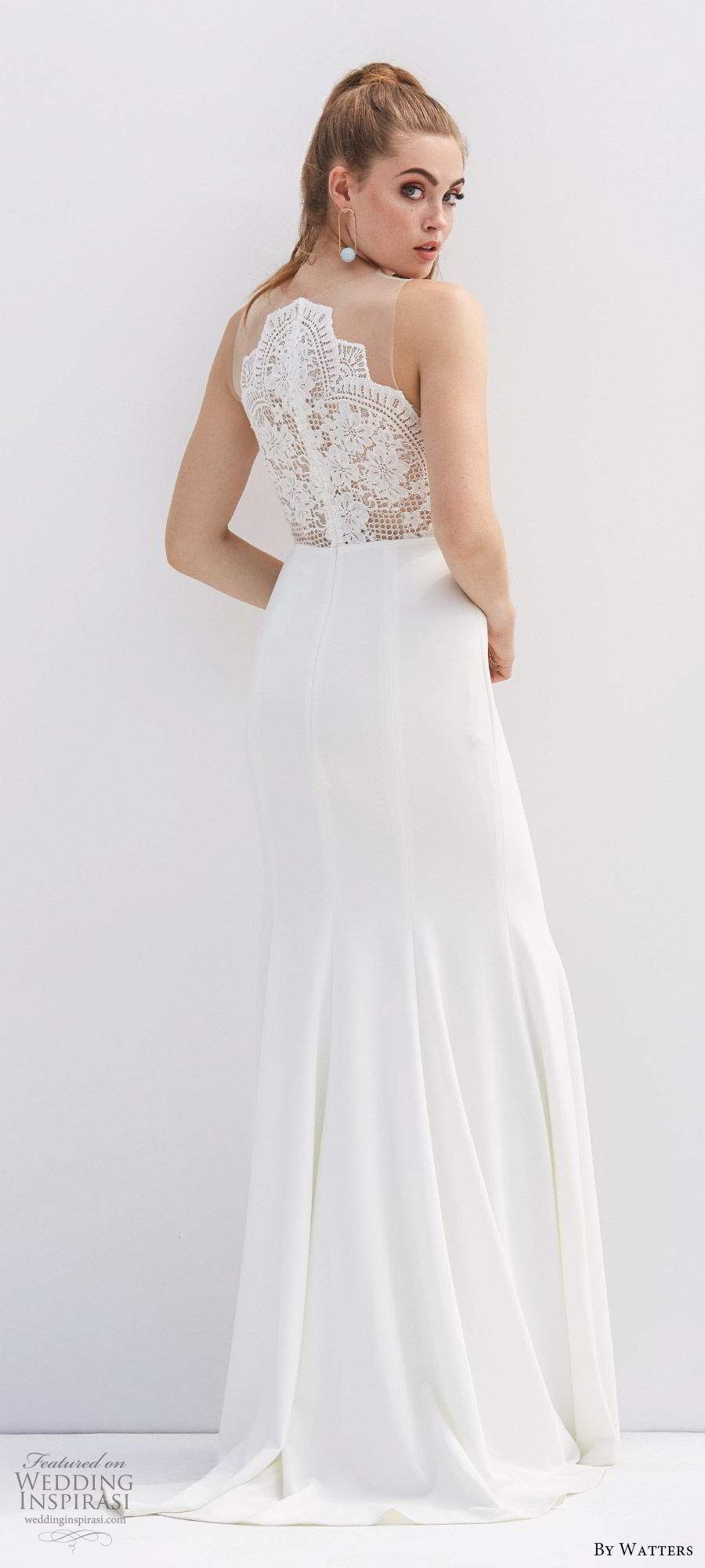by watters 2020 bridal sleeveless illusion jewel neck sheer lace bodice fit flare sheath trumpet wedding dress (8) clean modern chic bv