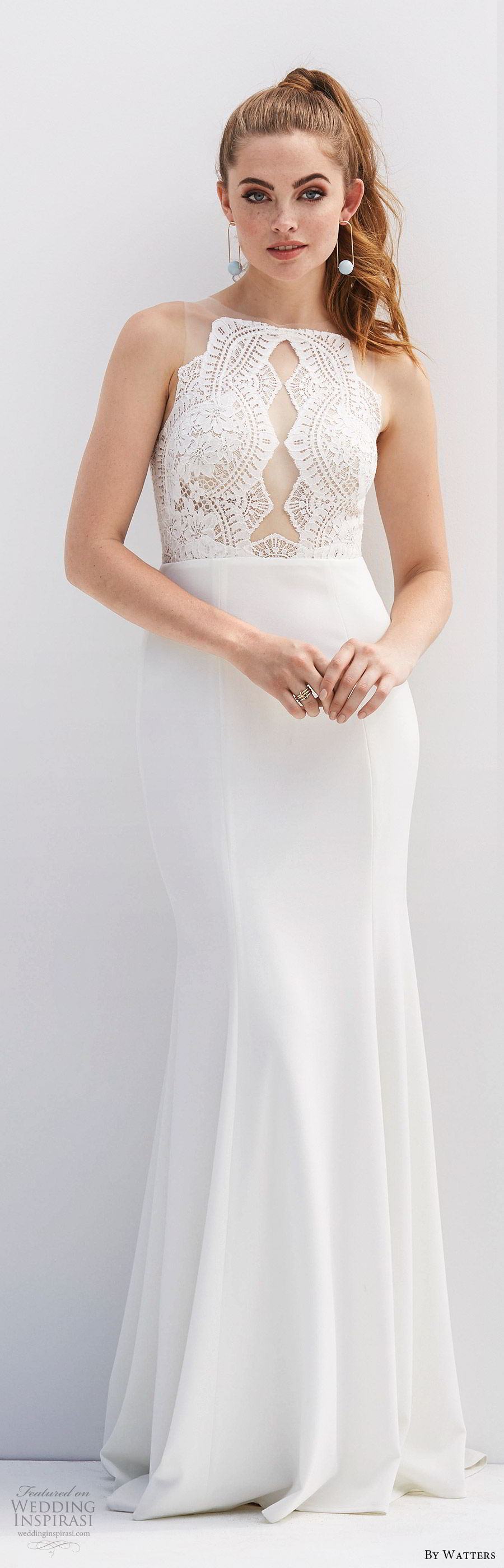 by watters 2020 bridal sleeveless illusion jewel neck sheer lace bodice fit flare sheath trumpet wedding dress (8) clean modern chic mv