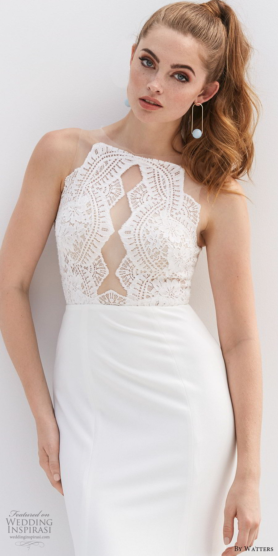 by watters 2020 bridal sleeveless illusion jewel neck sheer lace bodice fit flare sheath trumpet wedding dress (8) clean modern chic zv