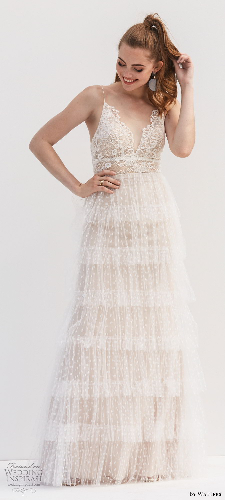 by watters 2020 bridal sleeveless thin straps v neck lace a line ball gown wedding dress (9) romantic boho chic champagne beige mv