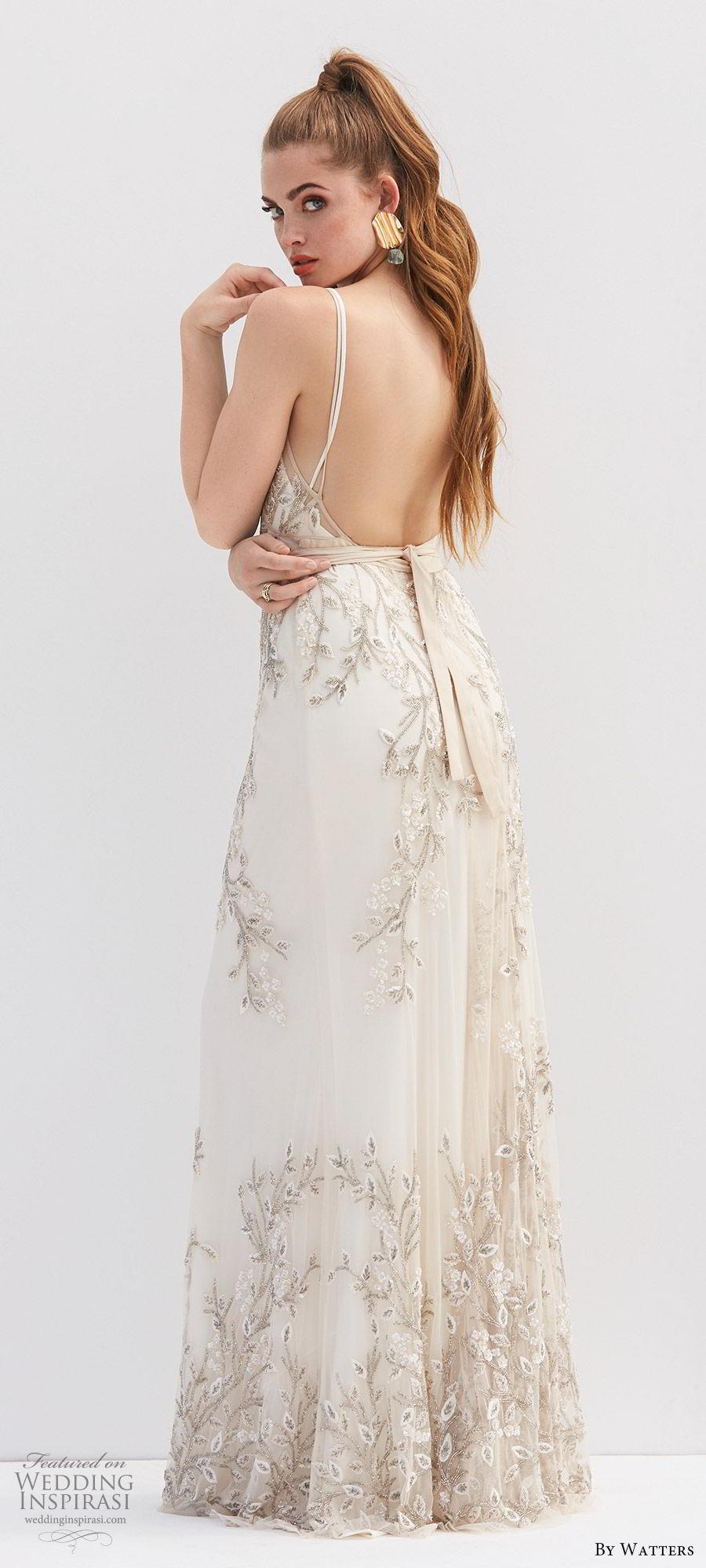by watters 2020 bridal sleeveless thin straps v neck lace fully beaded a line wedding dress (10) sash belt romantic elegant bv
