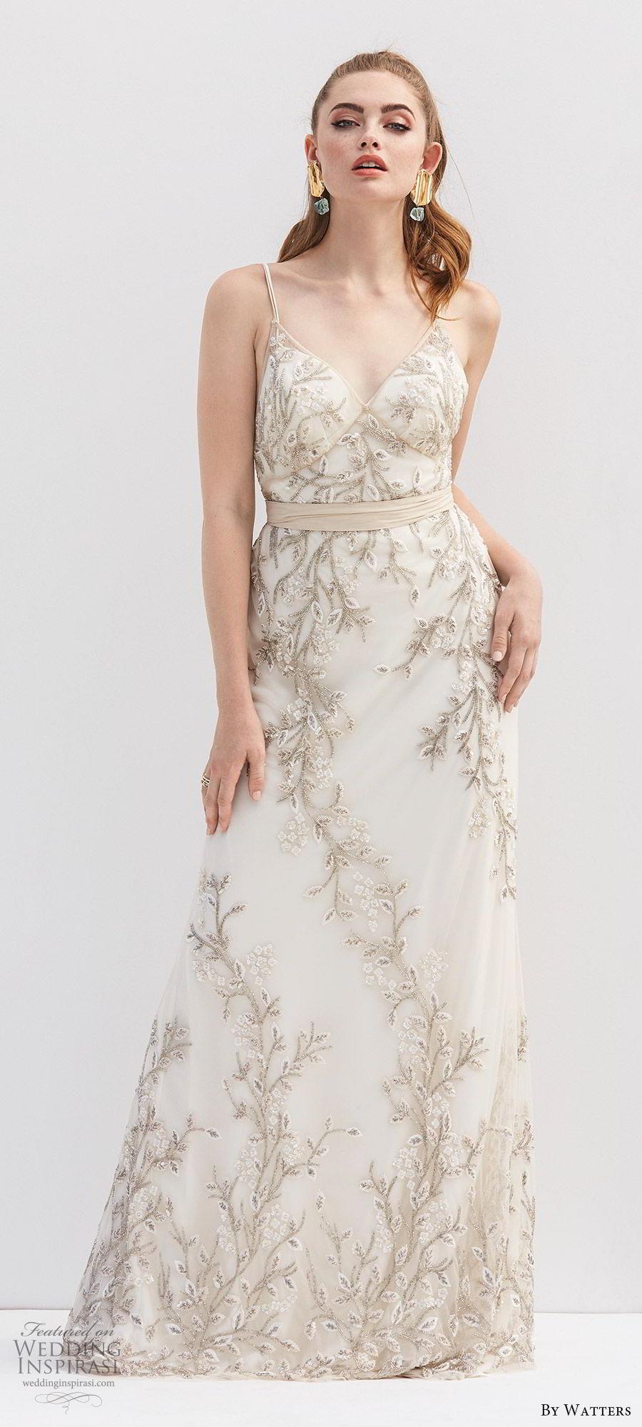 by watters 2020 bridal sleeveless thin straps v neck lace fully beaded a line wedding dress (10) sash belt romantic elegant mv