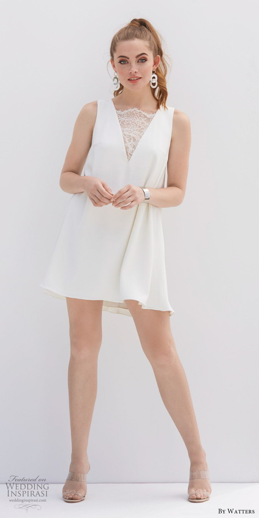by watters 2020 bridal sleeveless v neck illusion lace bodice short wedding dress (12) keyhole back modern mv