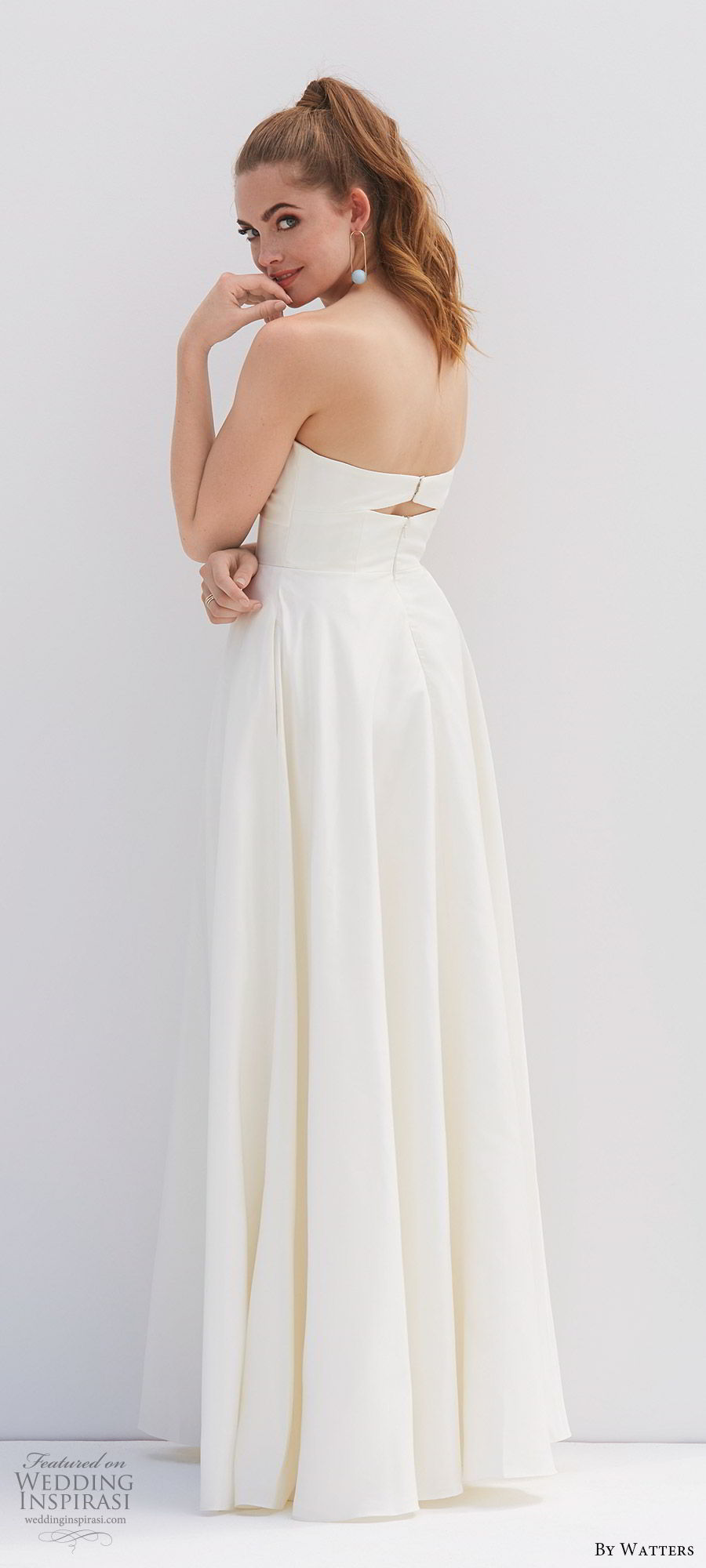 by watters 2020 bridal strapless sweetheart cutout ruched bodice a line ball gown wedding dress (4) pocket clean chic modern cutout back bv