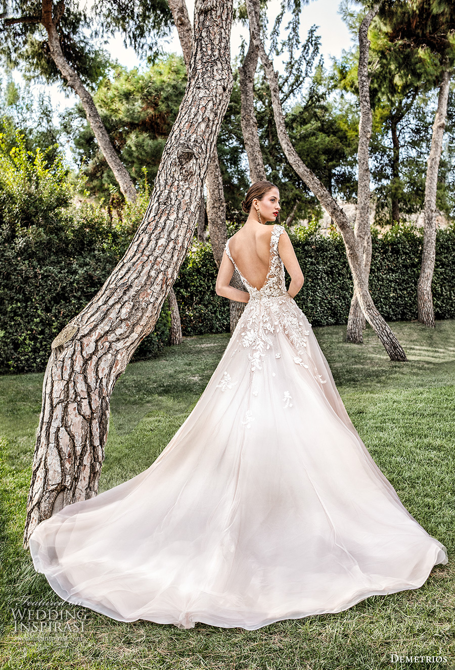 demetrios 2020 bridal cap sleeves illusion bateau sweetheart neckline heavily embellished bodice romantic blush a  line wedding dress backless v back chapel train (5) bv