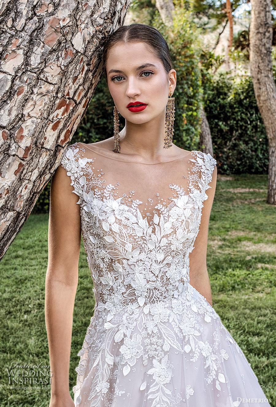 demetrios 2020 bridal cap sleeves illusion bateau sweetheart neckline heavily embellished bodice romantic blush a  line wedding dress backless v back chapel train (5) zv