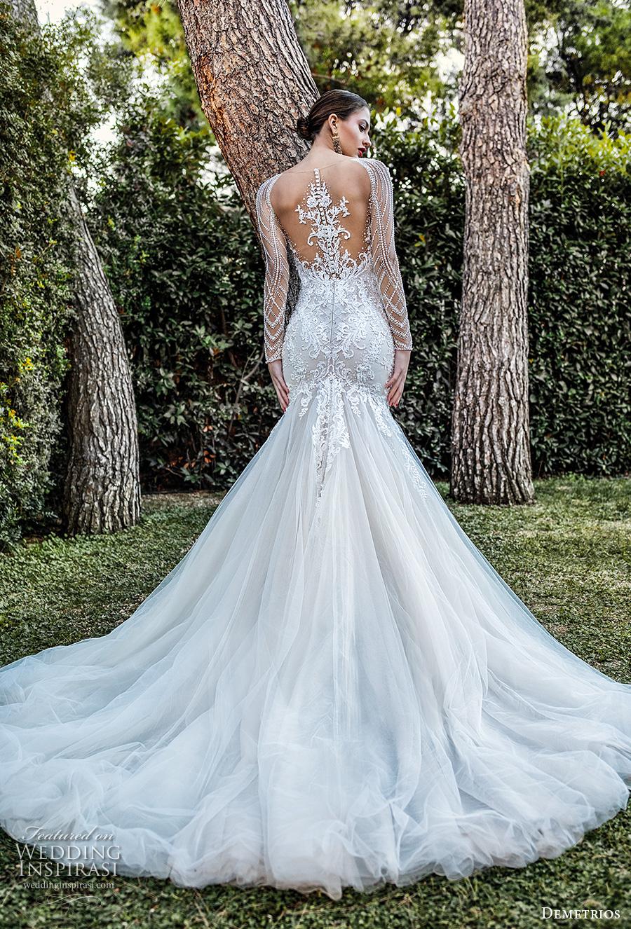 demetrios 2020 bridal long sleeves illusion bateau sweetheart neckline heavily embellished bodice elegant mermaid wedding dress sheer lace back chapel train (8) bv