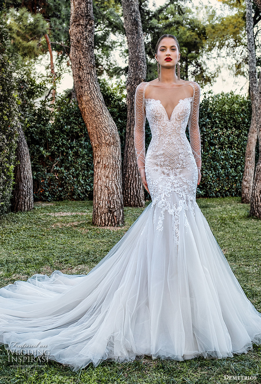 demetrios 2020 bridal long sleeves illusion bateau sweetheart neckline heavily embellished bodice elegant mermaid wedding dress sheer lace back chapel train (8) mv