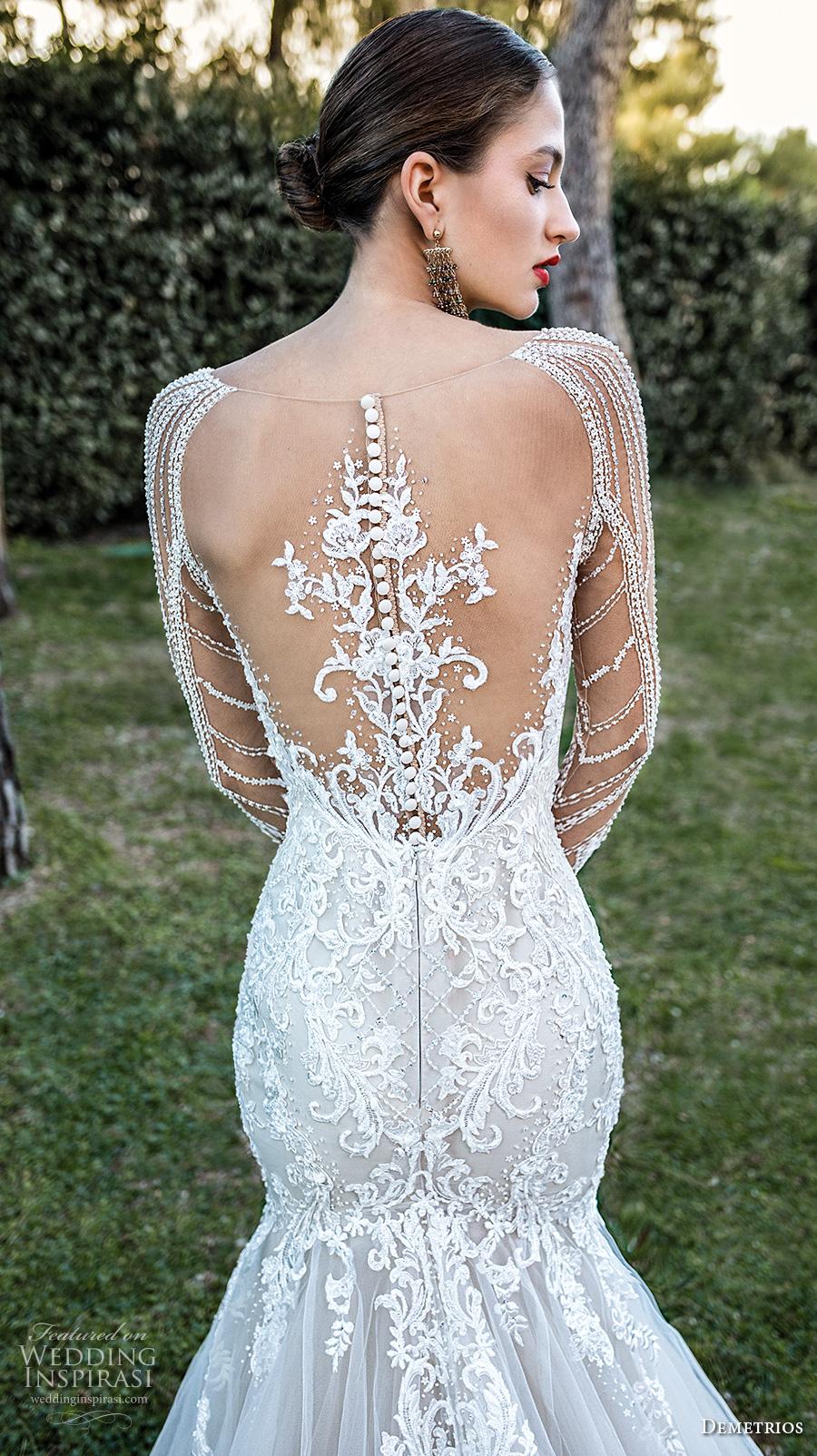 demetrios 2020 bridal long sleeves illusion bateau sweetheart neckline heavily embellished bodice elegant mermaid wedding dress sheer lace back chapel train (8) zbv