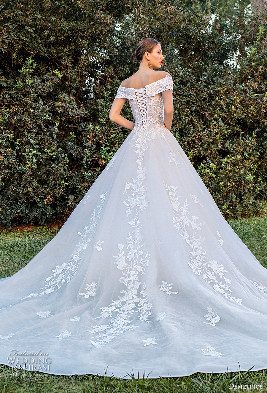 demetrios 2020 bridal off the shoulder sweetheart neckline heavily embellished bodice romantic a  linw wedding dress corset back chapel train (12) bv