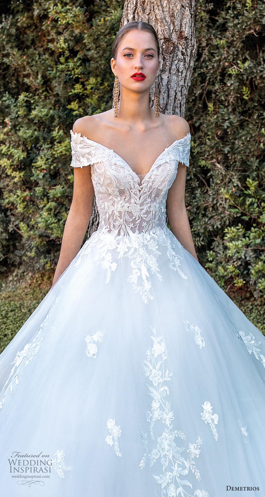 demetrios 2020 bridal off the shoulder sweetheart neckline heavily embellished bodice romantic a  linw wedding dress corset back chapel train (12) lv