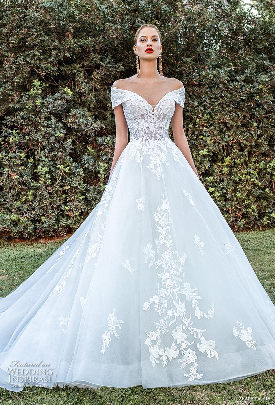 demetrios 2020 bridal off the shoulder sweetheart neckline heavily embellished bodice romantic a  linw wedding dress corset back chapel train (12) mv