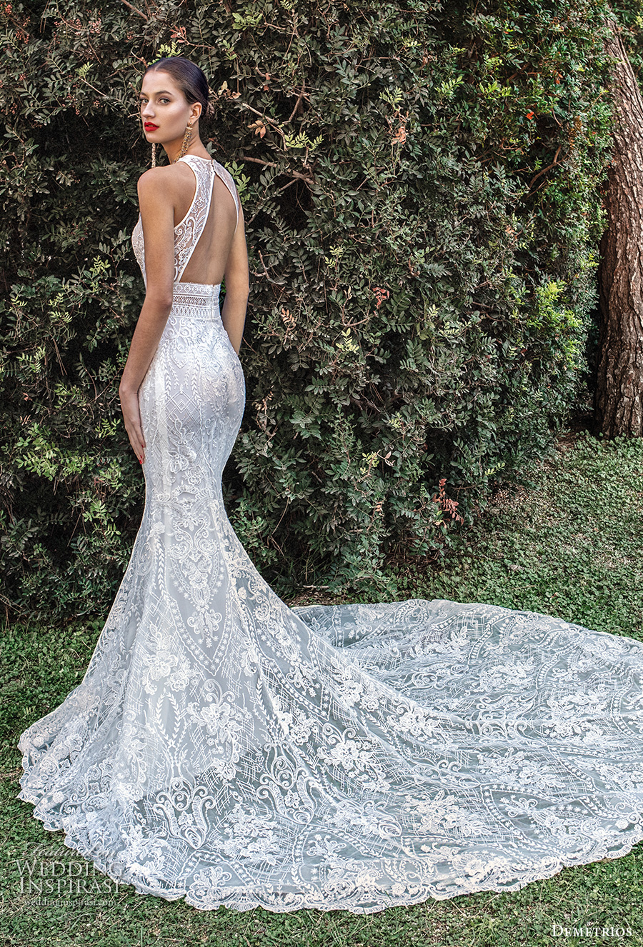 demetrios 2020 bridal sleeveless halter jewel neck full embellishment elegant fit and flare wedding dress keyhole back chapel train (9) bv