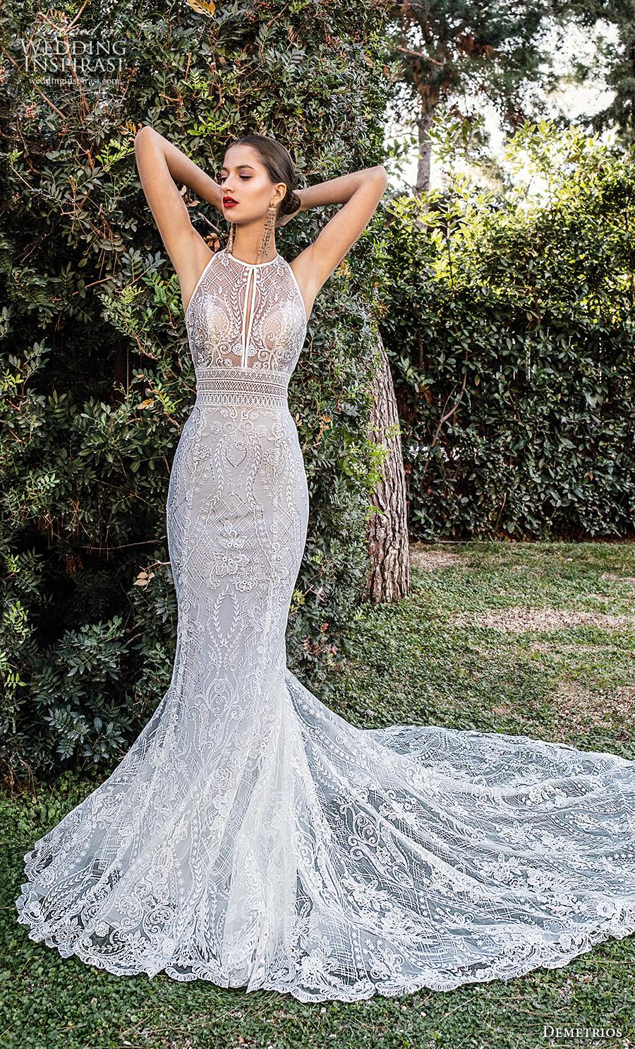 demetrios 2020 bridal sleeveless halter jewel neck full embellishment elegant fit and flare wedding dress keyhole back chapel train (9) mv