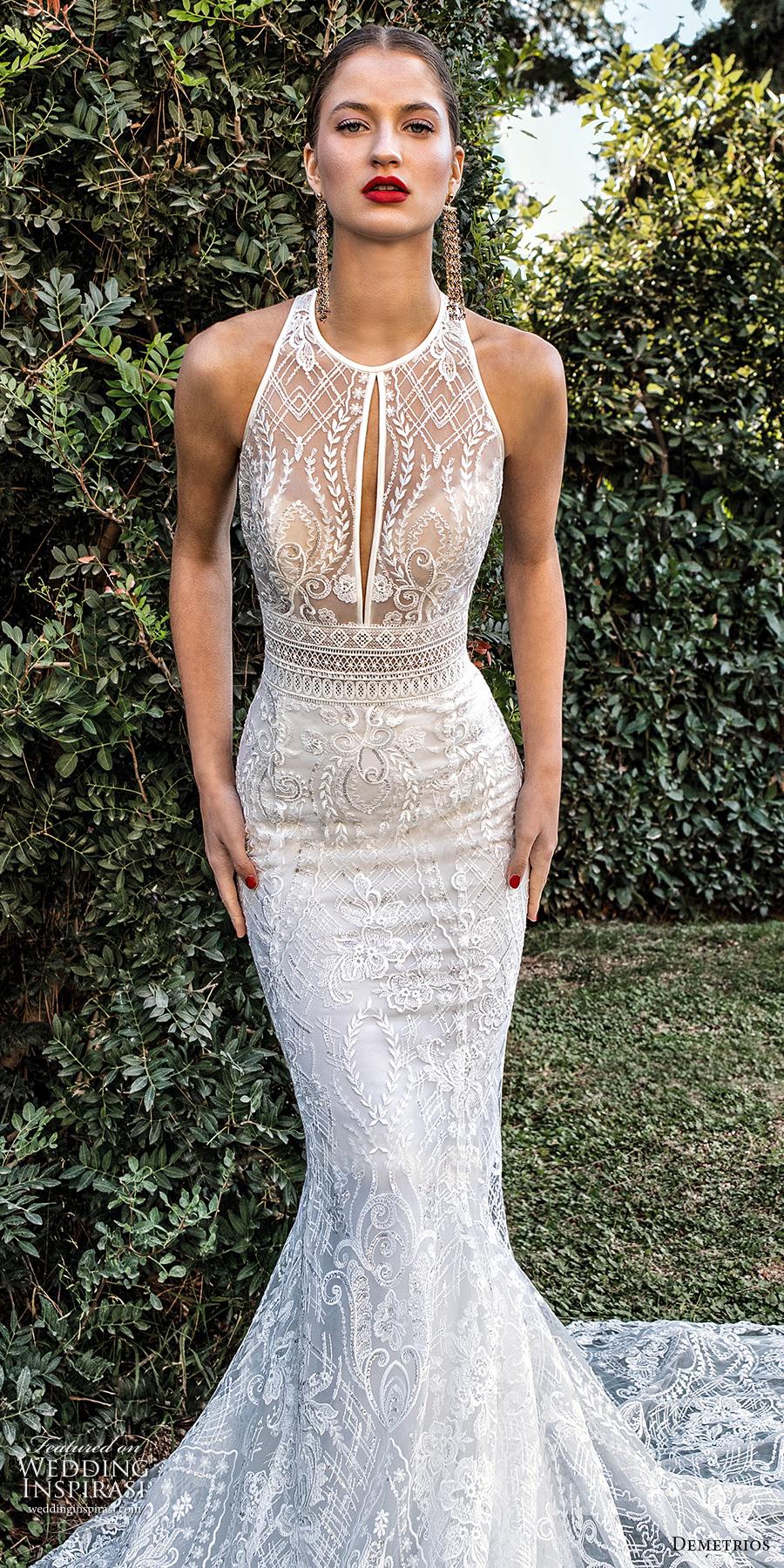 demetrios 2020 bridal sleeveless halter jewel neck full embellishment elegant fit and flare wedding dress keyhole back chapel train (9) zv