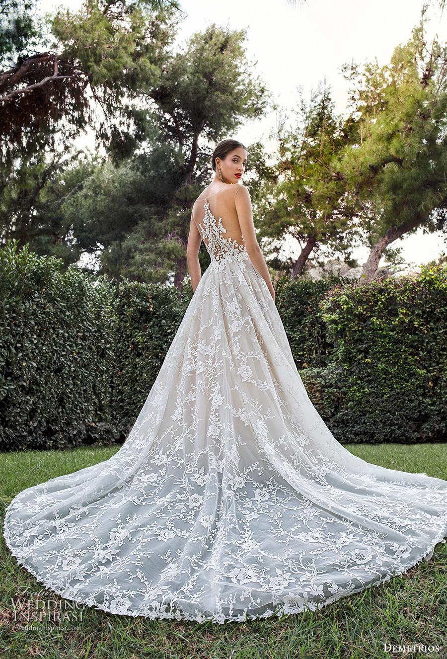 demetrios 2020 bridal sleeveless illusion bateau sweetheart neckline full embellishment romantic a  line wedding dress sheer lace back chapel train (2) bv