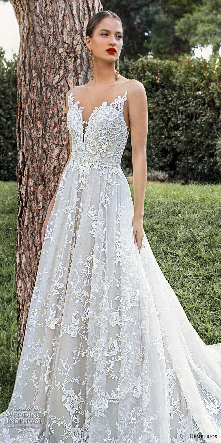 demetrios 2020 bridal sleeveless illusion bateau sweetheart neckline full embellishment romantic a  line wedding dress sheer lace back chapel train (2) lv