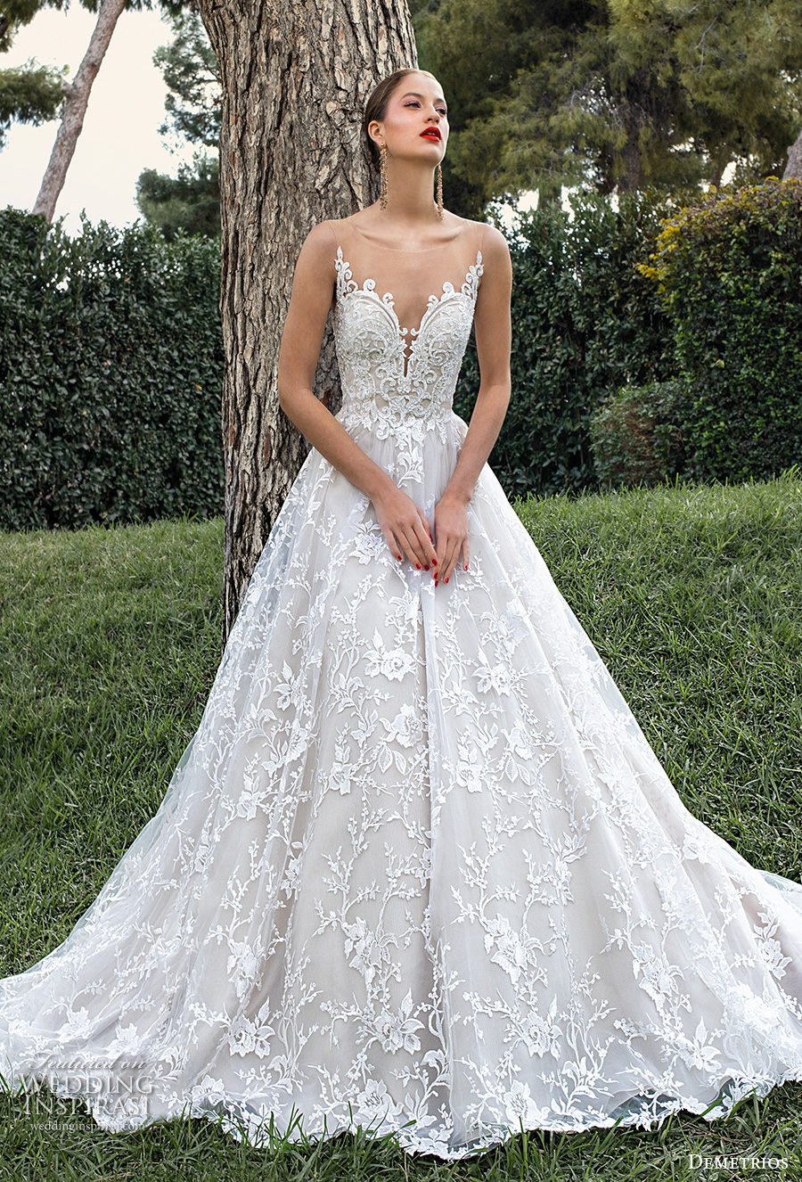 demetrios 2020 bridal sleeveless illusion bateau sweetheart neckline full embellishment romantic a  line wedding dress sheer lace back chapel train (2) mv
