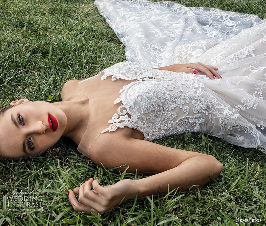 demetrios 2020 bridal sleeveless illusion bateau sweetheart neckline full embellishment romantic a  line wedding dress sheer lace back chapel train (2) mv