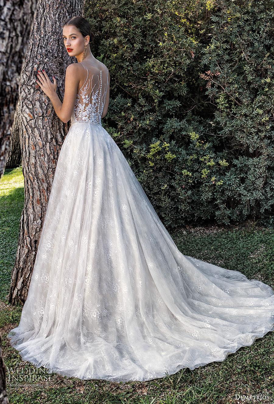 demetrios 2020 bridal sleeveless illusion bateau sweetheart neckline heavily embellished bodice romantic a  line wedding dress sheer lace back chapel train (3) bv