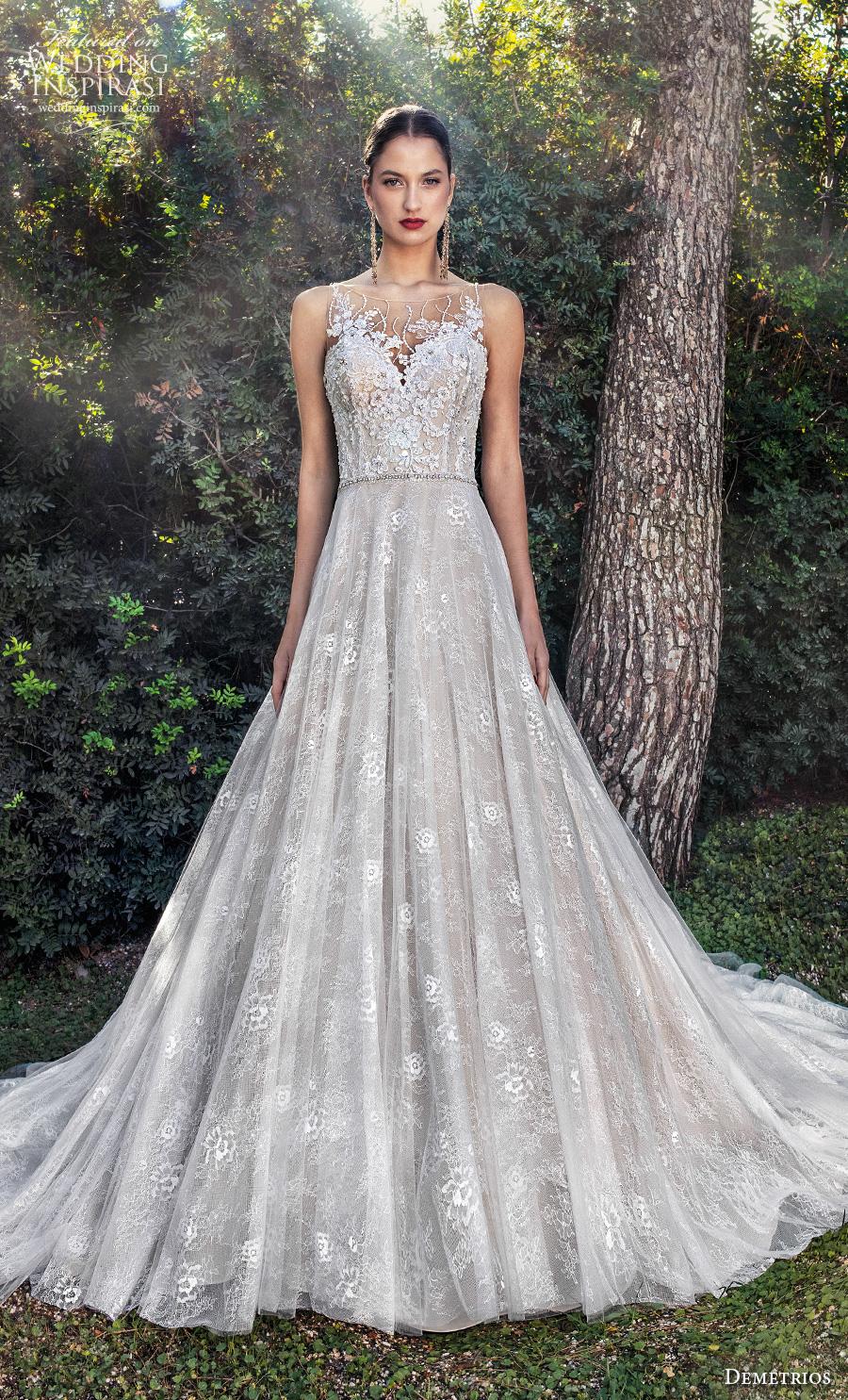 demetrios 2020 bridal sleeveless illusion bateau sweetheart neckline heavily embellished bodice romantic a  line wedding dress sheer lace back chapel train (3) mv