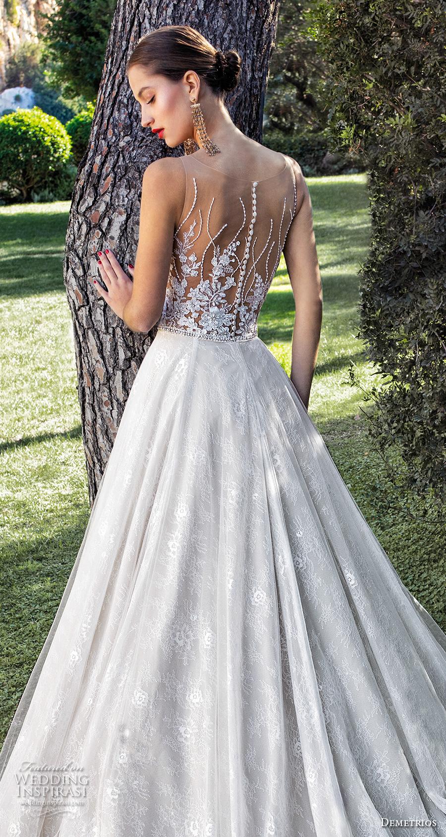 demetrios 2020 bridal sleeveless illusion bateau sweetheart neckline heavily embellished bodice romantic a  line wedding dress sheer lace back chapel train (3) zbv
