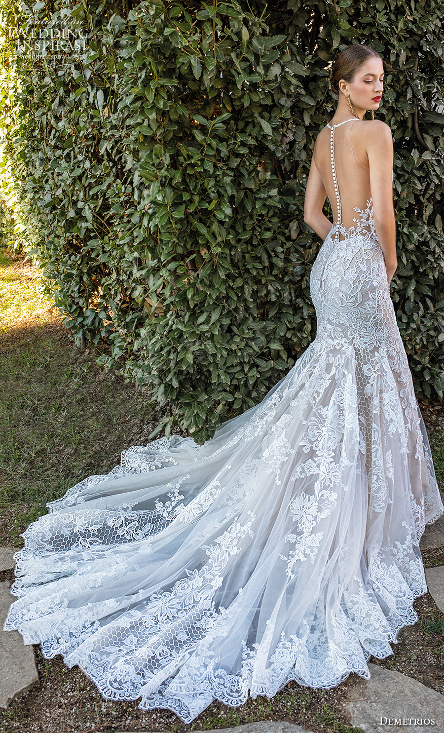 demetrios 2020 bridal sleeveless illusion halter neck sweetheart neckline full embellishment elegant fit and flare wedding dress sheer button back chapel train (6) bv