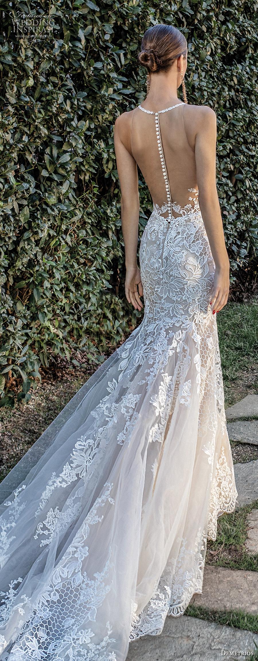 demetrios 2020 bridal sleeveless illusion halter neck sweetheart neckline full embellishment elegant fit and flare wedding dress sheer button back chapel train (6) lbv