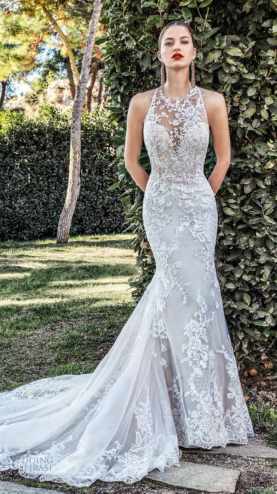 demetrios 2020 bridal sleeveless illusion halter neck sweetheart neckline full embellishment elegant fit and flare wedding dress sheer button back chapel train (6) mv
