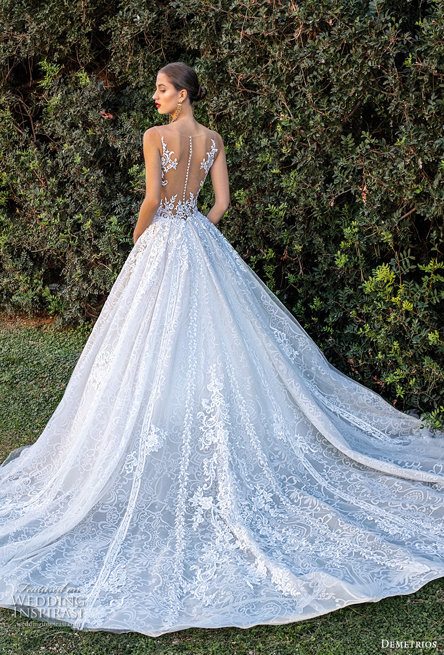 demetrios 2020 bridal sleeveless illusion jewel sweetheart neckline full embellishment romantic a  line wedding dress sheer button back chapel train (7) bv