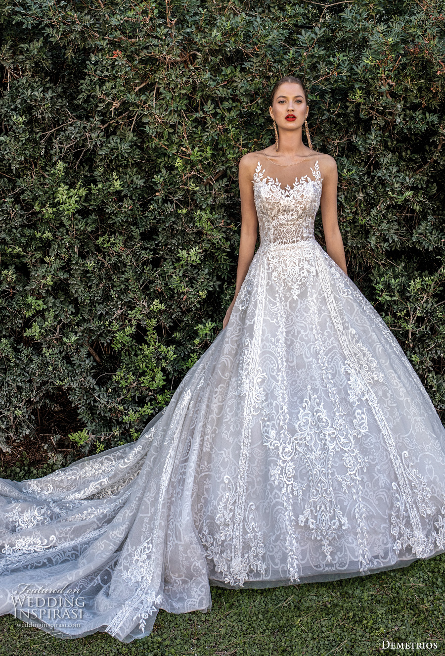 demetrios 2020 bridal sleeveless illusion jewel sweetheart neckline full embellishment romantic a  line wedding dress sheer button back chapel train (7) mv