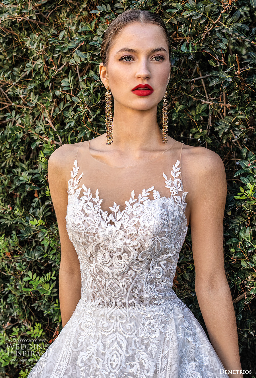 demetrios 2020 bridal sleeveless illusion jewel sweetheart neckline full embellishment romantic a  line wedding dress sheer button back chapel train (7) zv