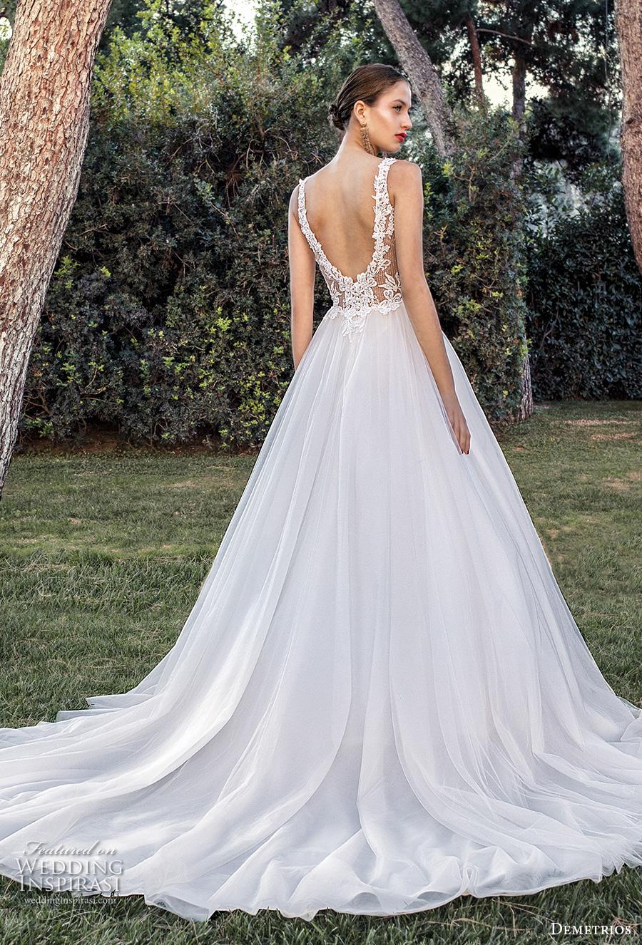 demetrios 2020 bridal sleeveless v neck heavily embellished bodice romantic a  line wedding dress backless scoop back chapel train (10) bv