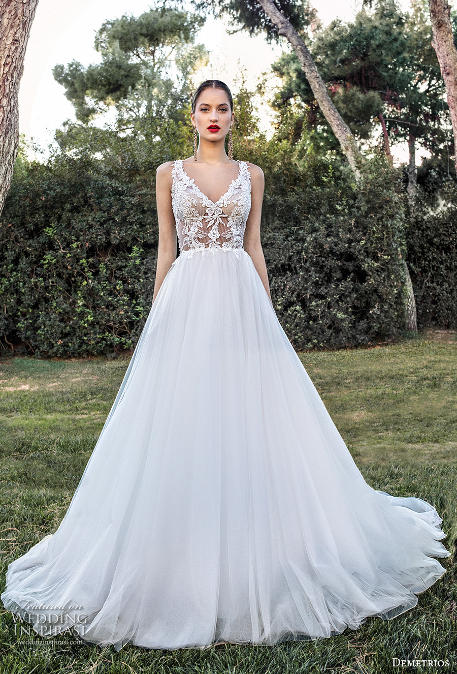 demetrios 2020 bridal sleeveless v neck heavily embellished bodice romantic a  line wedding dress backless scoop back chapel train (10) mv