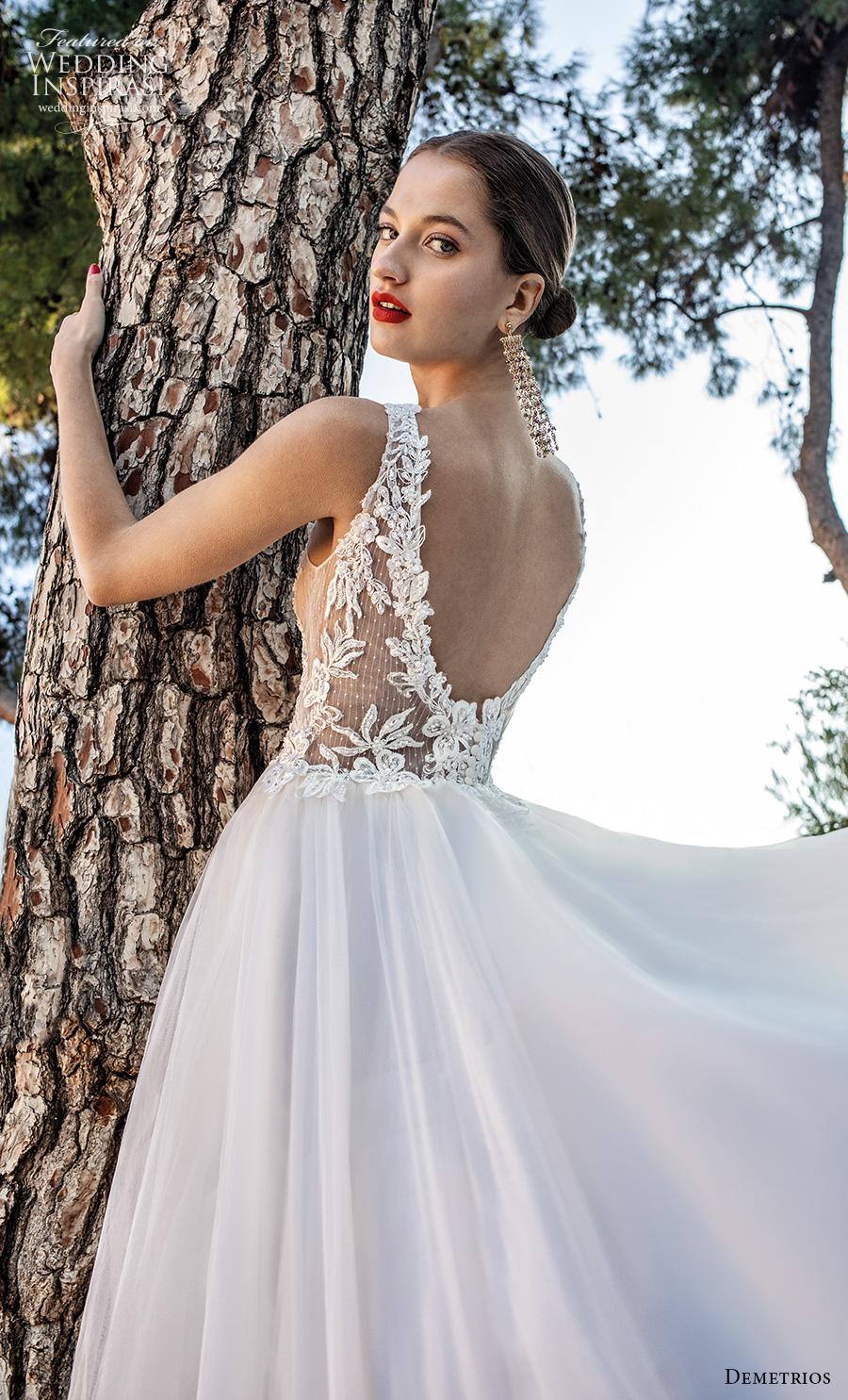 demetrios 2020 bridal sleeveless v neck heavily embellished bodice romantic a  line wedding dress backless scoop back chapel train (10) zbv