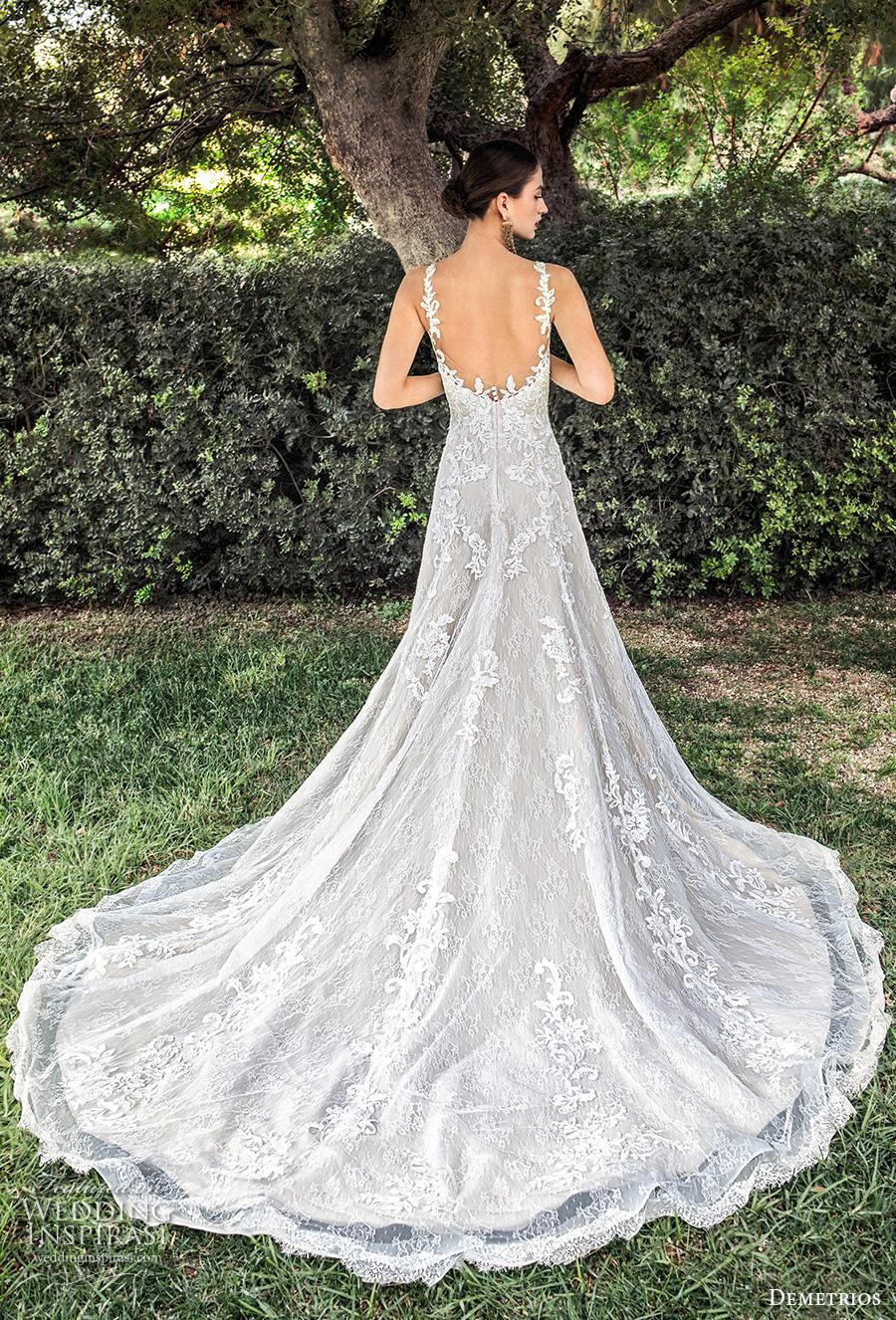 demetrios 2020 bridal sleeveless with strap deep plunging sweetheart neckline heavily embellished bodice elegant a  line wedding dress backless scoop back chapel train (11) bv